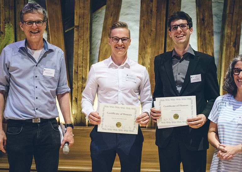 After graduating in 2019, Marcel Moosbrugger (l.) and Thomas Hader (r.) were accepted for the Purdue University GoBoiler Internship and ETH Zurich Student Research Fellowship Program, respectively.