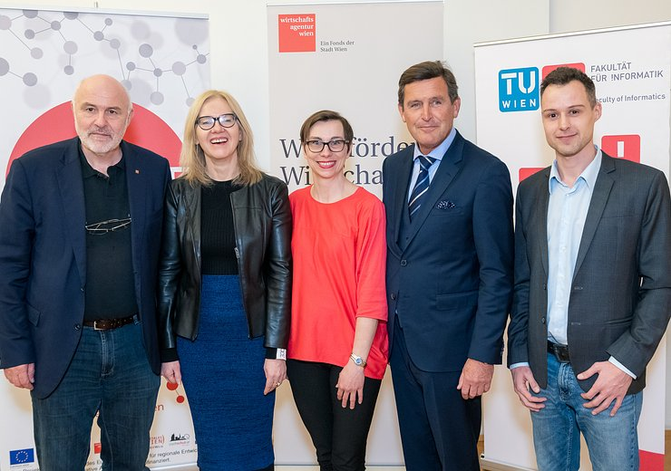 Welcome TU.code graduation 2019, Dean Hannes Werthner, Vice Rector Anna Steiger, Gabriele Tatzberger from the Vienna Business Agency, City Councillor Peter Hanke and Stefan Steinberger from Refugees Code