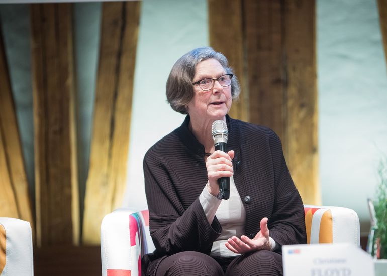 "Honorary Professor Christiane Floyd at our panel discussion ""More Female Scientists in Computer Science. Who cares?"" in 2017."